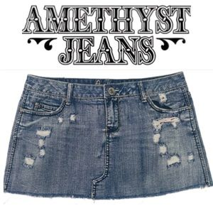🦄 Amethyst JEAN SKIRT Fringed Distressed Size 11